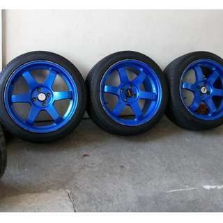 3 pieces 17s TE37 17x8 with 4 PIECES 3month old tires (3 pcs mags,4pcs almost bnew tires)