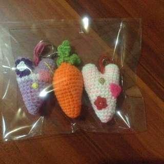 Crochet Heart Bag Tags