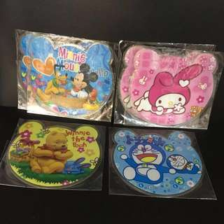 6 PCS Doraemon Melody Mickey Winnie Pooh School Kids Boys Girls Desktop MousePad Cup Coaster party favor goody bag