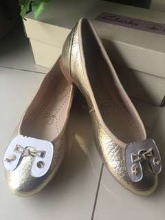 Clarks Flats Shoes in Champagne