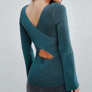 [FLATTERING!] Extreme cross back long sleeve ribbed top in deep sea-green