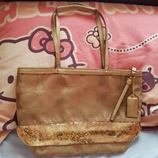 Authentic COACH  METALIC GOLD SIGNATURE SEQUIN TOTE