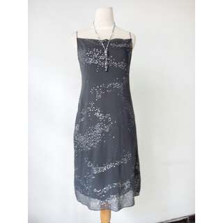 (100rb) Dress pesta merek SIMPLICITY simple black backless, bhn stretch cotton kombi chiffon dgn furing, LD 80-90, waist72-104, hip88-102, pjg93cm