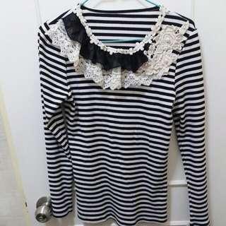 $25日系黑白幼間lace衫