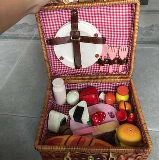 Picnic Basket with Wooden Toy Food