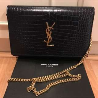 Saint Laurent Medium Kate Monogram Croc Embossed YSL chain bag