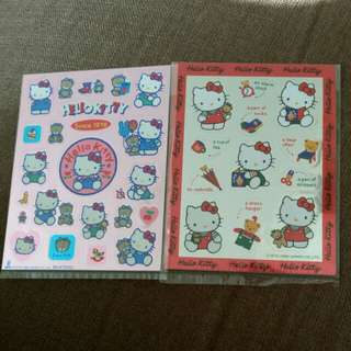Sanrio Hello Kitty 閃面貼紙2張 1988-1989