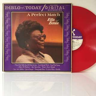 Ella Fitzgerald And Count Basie – Ella And Basie - A Perfect Match (1980 USA Repress - RED Vinyl is Mint)