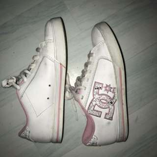 DC white and pink shoes