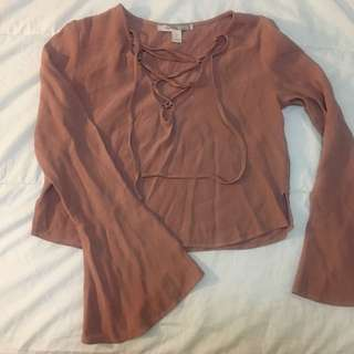 F21 Lace Up Shirt with Flared Sleeves Size XS