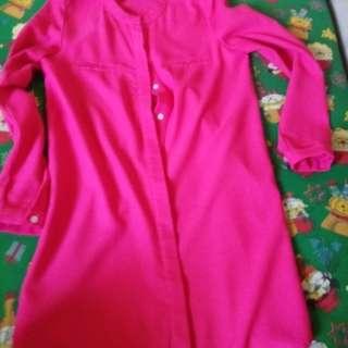 Fuschia Pink Long Sleeve Dress