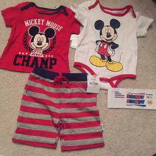 DISNEY MICKEY MOUSE 3 PC SET 12-18 MO BNWT