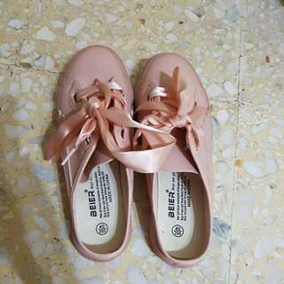 Pink Slip On Satin Ribbon Shoe