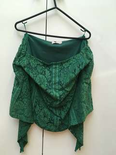 Off the shoulder green lace top