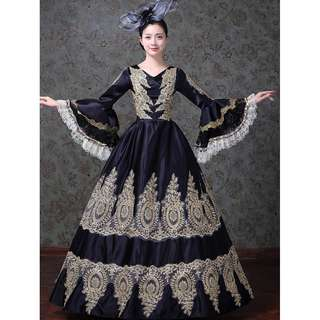 Pre order  Medieval black Long Sleeve Muslimah Victorian Lolita Ball Gown Dress Wedding Bridal   RBMWD0138