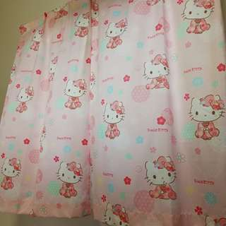 Preloved 2 Panels Hello Kitty Curtain+Day Curtain