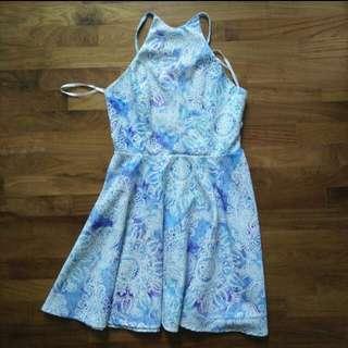 tobi watercolour paisely blue halter dress