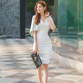 Women's White Midi Dress cape sleeve