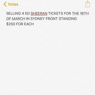 ed sheeran front standing tickets
