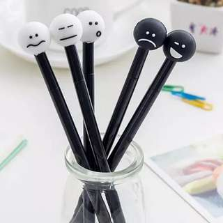 Black white face pen