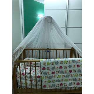 Baby Cot + Baby Love Bedding set
