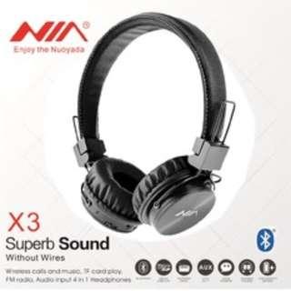 Superbass Wireless NIA X3 Headphones Multi Function Radio SD Wireless Wired