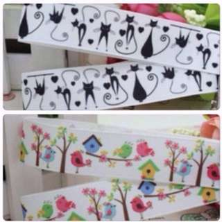 💐 Ribbon - Black Cat / House Design 2m Width