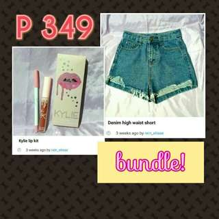 Denim short and lip kit bundle