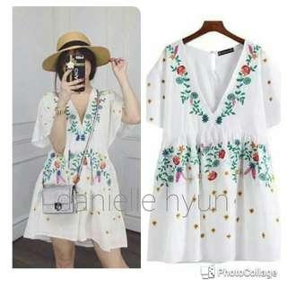 🌎White embroidered  summer mini dress