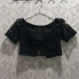 Black laced bustier off shoulder crop top