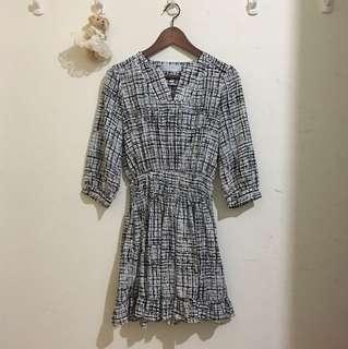 黑白格子 典雅氣質縮腰洋裝#新春八折