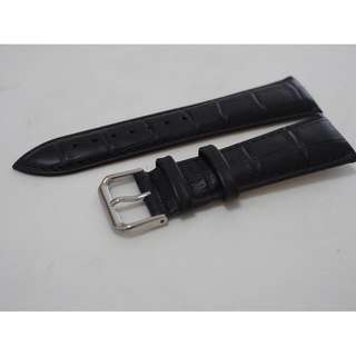 Charcoal black genuine leather watch strap