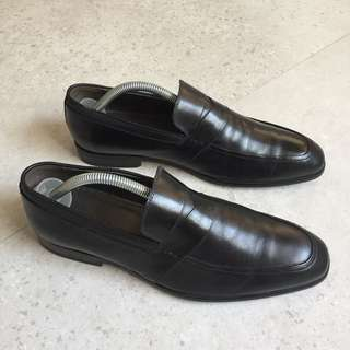 Pedro Men's Black Burnished Calf Leather Penny Loafers