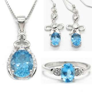 Natural Blue Topaz Custom handmade Jewelry Set For Women 925 Sterling Silver Topaz Necklace Earrings Ring Wedding Bridal Sets