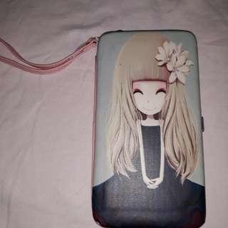 cute doll phone/ card wristlet
