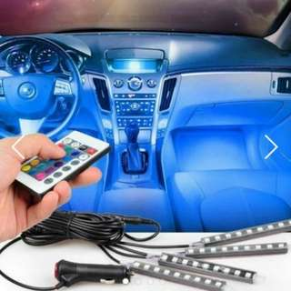 [Remote] 9 LED 4 strip remote controlled car interior LED decorative remote controlled all colors