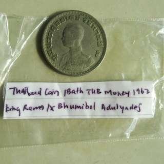 Thailand coin 1 bath Thb money 1962 king rama IX bhumihol adulyades