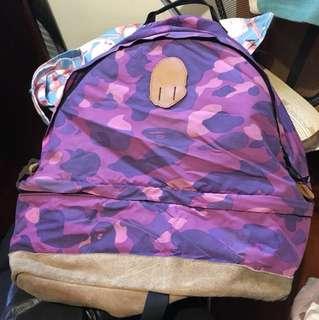 中古 bathing ape 迷彩紫色 背包
