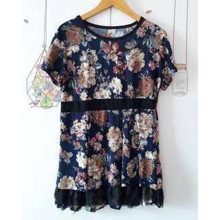 Blouse flowery navy