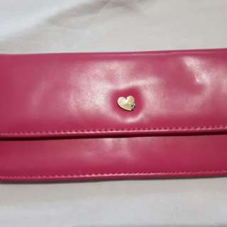 pink long bifold wallet