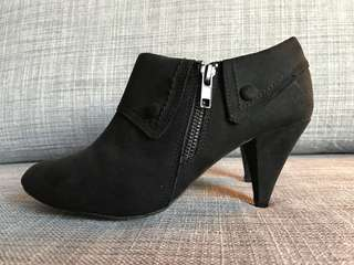 Betts black suede ankle boots with button detail