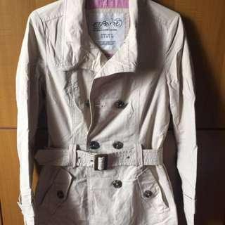 Autumn jacket, light coat, beige color, belt included
