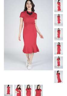 Nursing Dress Red Mermaid Hem (L Size)
