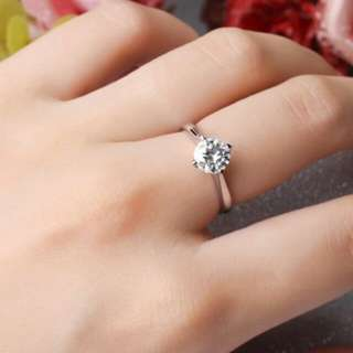Heart Design Solid 9K White Gold Engagement Ring 1CT Simulated Diamond Wedding Rings For Women Valentine's Day Gifts