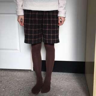 🚚 古著 咖啡色 羊毛 毛料 毛呢 格紋短褲