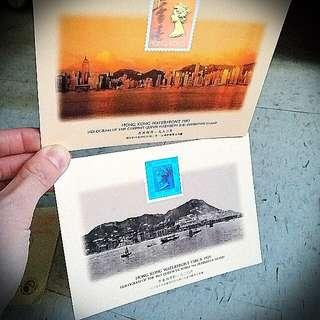香港海傍1993 1920女皇伊利沙伯變色郵票明信片 Queen Stamp Postcard