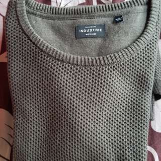 MEN'S SWEATER fleece KNIT OLIVE GREEN