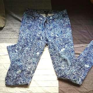 Hm blue patterned jeans