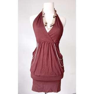 (100rb) Mini Dress brown model rante, bhn cotton adem HIGH QUALITY, LD62-102, pjg73cm