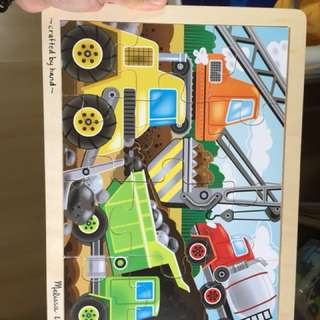Pre-loved melissa and doug construction puzzle